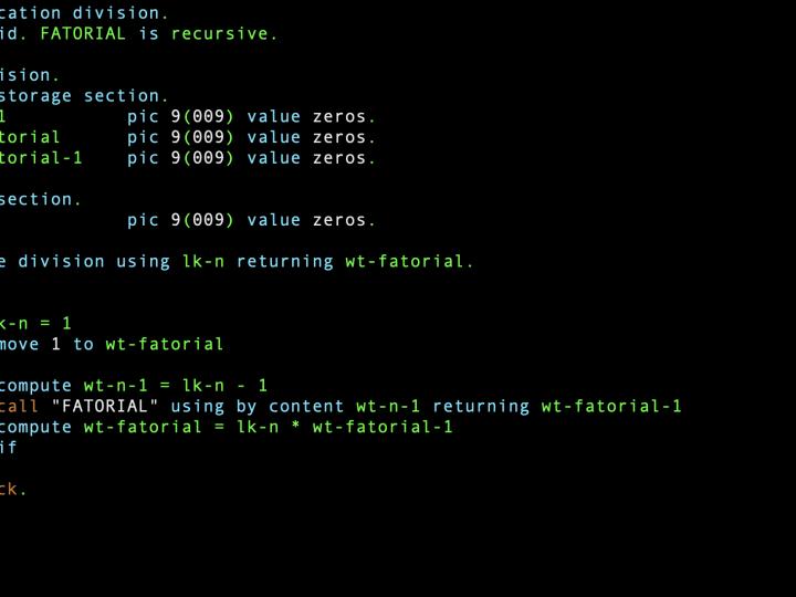 Como criar um subprograma recursivo em Cobol?
